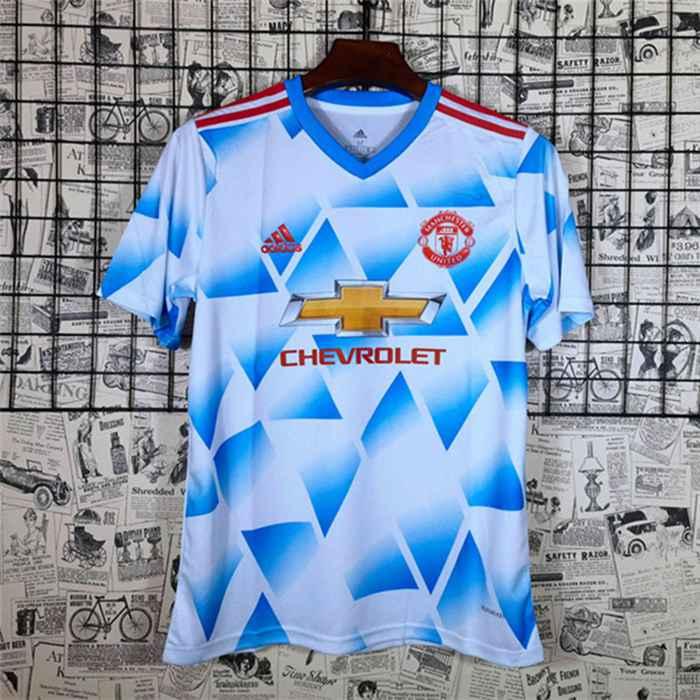 Siti Dove T Shirt Allenamento Manchester United Bianca/Blu 2021/2022
